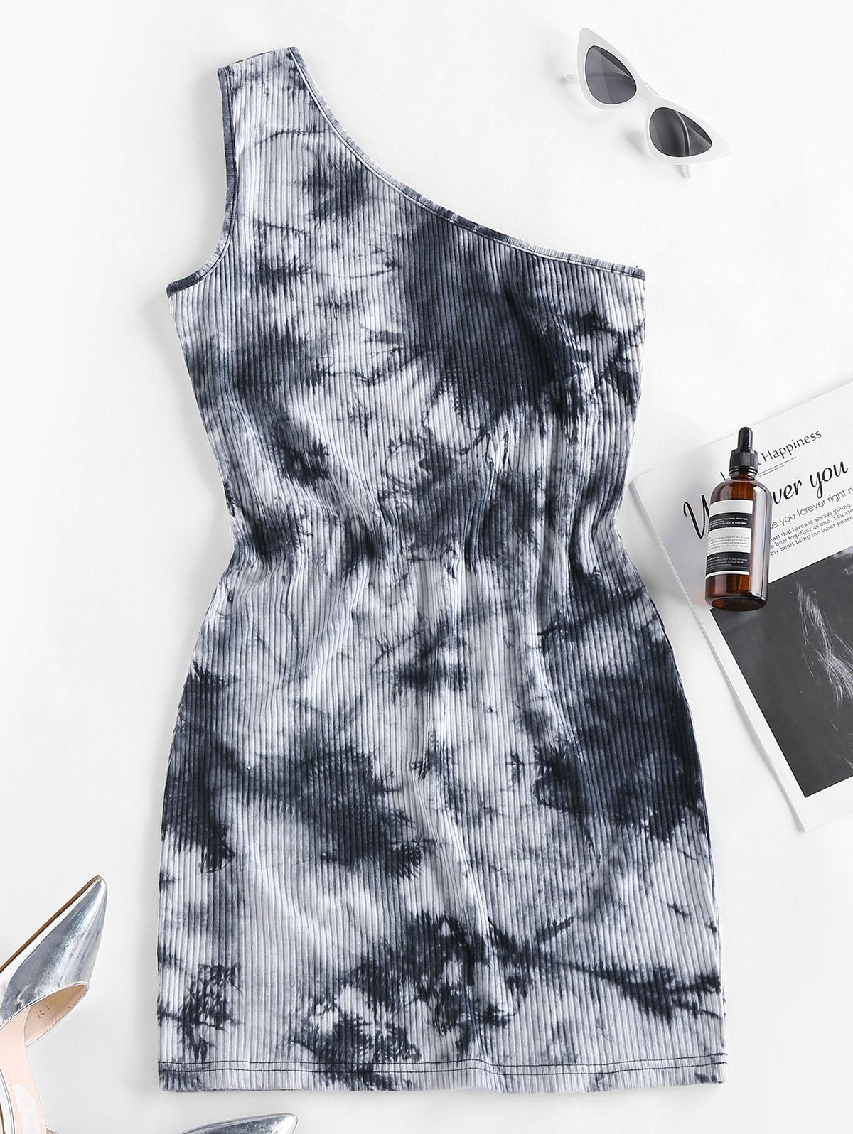 ZAFUL Tie Dye One Shoulder Bodycon Dress