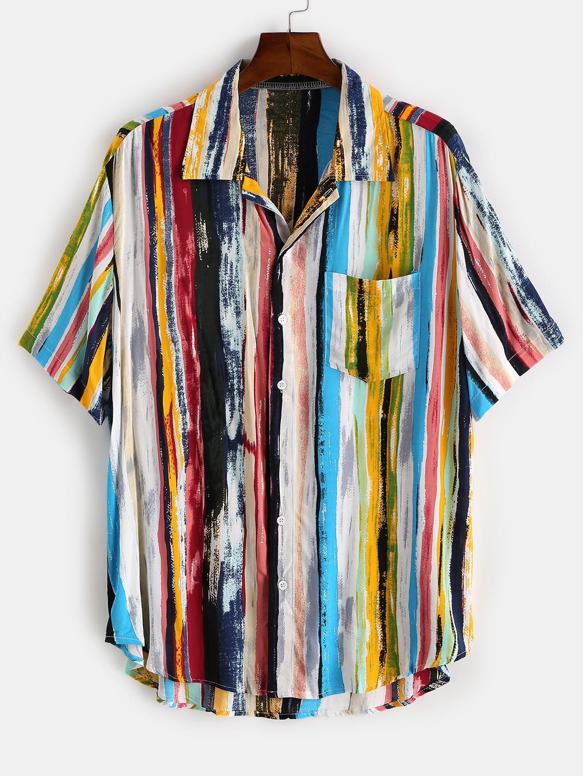 Chemise Rayée Colorée Imprimée à Ourlet Courbe avec Poche L Bleu clair