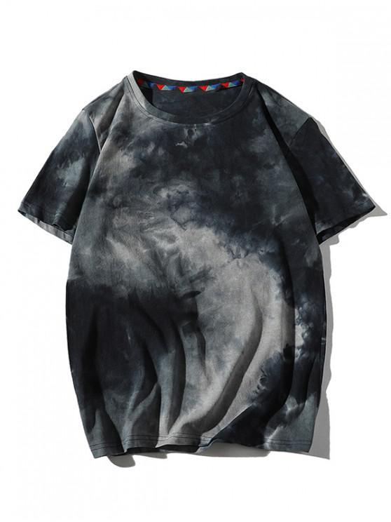 Camiseta con Estampado de Teñido de Corbata con Mangas Cortas - Cadetblue XS