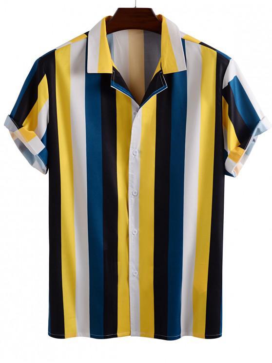 women's Color Blocking Stripes Button Up Shirt - YELLOW M