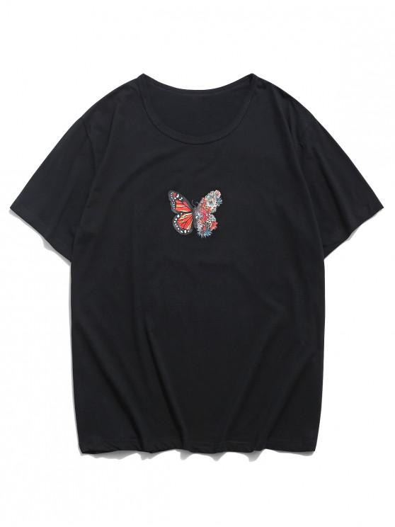 Floral Butterfly Graphic Lounge Short Sleeve T Shirt - أسود XS
