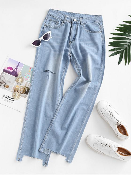 Jeans Rectos Desgarrados - Azul claro M