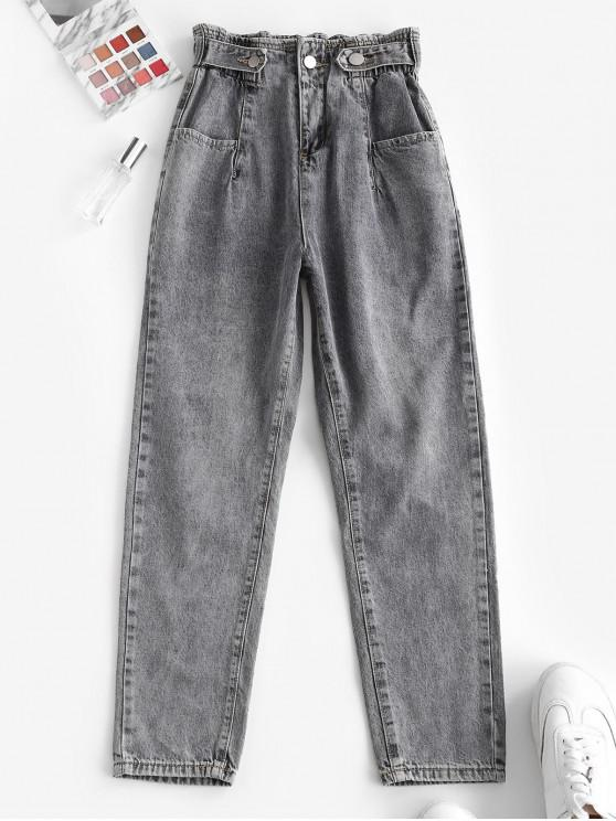 Jeans Ajustado Cintura Alta y Bolsillos - Gris M