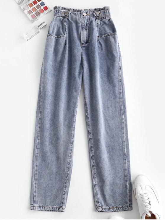 women High Waist Pockets Tapered Jeans - BLUE S