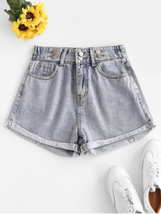 High Waist Cuffed Denim Shorts - أزرق فاتح L