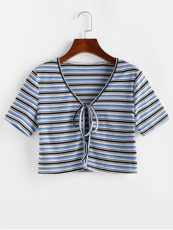 fancy ZAFUL Striped Ribbed Tie Front Crop T-shirt - LIGHT BLUE S