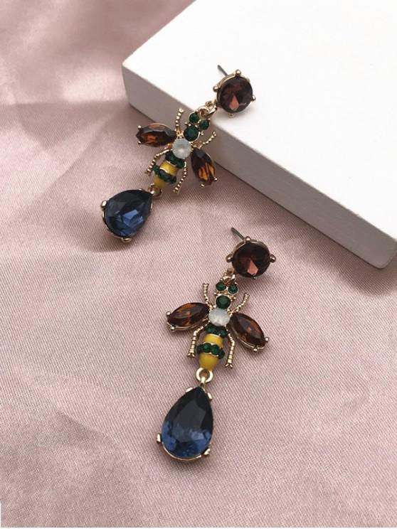 fancy Faux Gem Bee Water Drop Shape Earrings - MULTI
