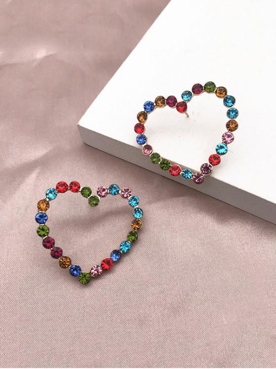 unique Colorful Rhinestone Heart Shape Stud Earrings - MULTI