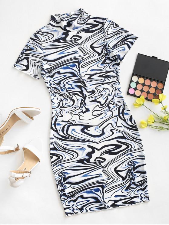 Twirled Printed Mock Neck Bodycon Dress - أسود M