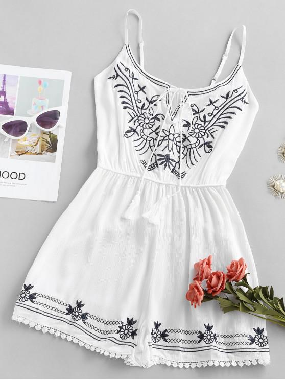 women's Ethinc Embroidery Tie Tassels Cami Romper - WHITE ONE SIZE