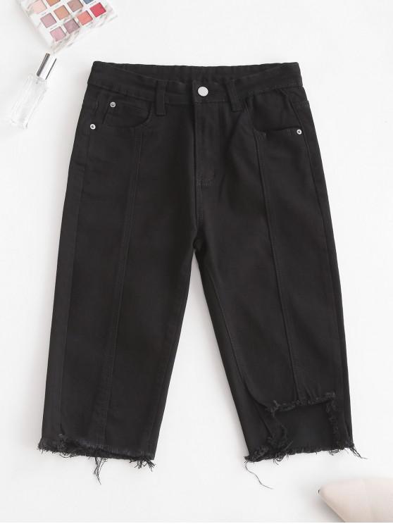 Y2K Uneven Hem Capri Jeans - أسود L