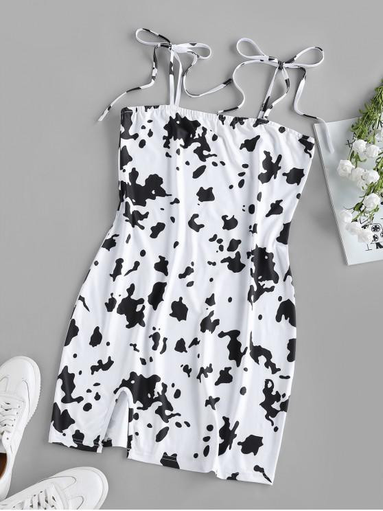outfit ZAFUL Cow Print Slit Tie Shoulder Mini Dress - WHITE M