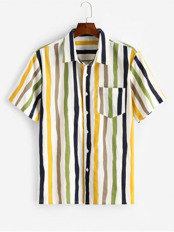 buy Vertical Striped Print Button Up Pocket Shirt - WHITE 2XL
