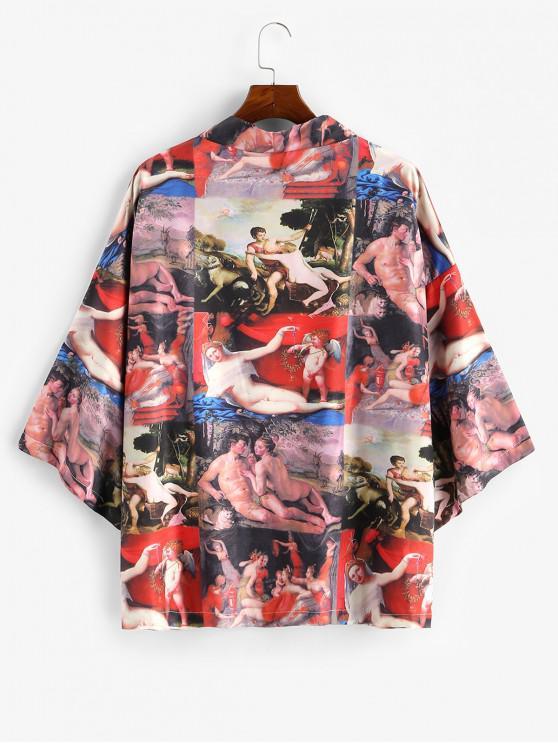 online Open Front Renaissance Print Oriental Kimono Cardigan - RED 2XL