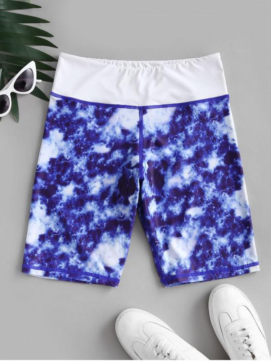 ladies Tie Dye Wide Waistband Gym Biker Shorts - BLUE S