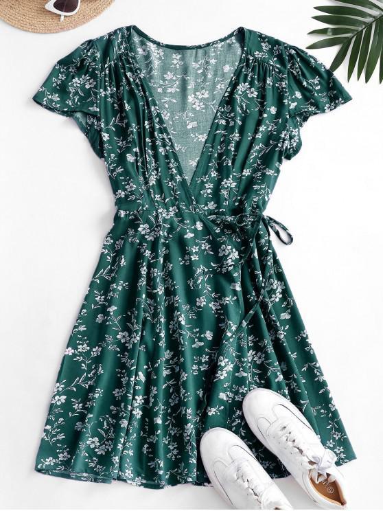 affordable Ditsy Floral Mini Wrap Dress - DEEP GREEN M