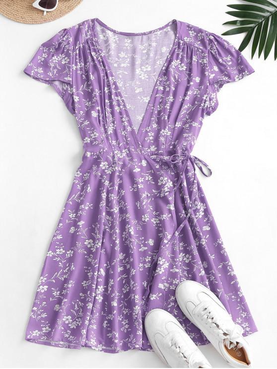 women's Ditsy Floral Mini Wrap Dress - LIGHT PURPLE L