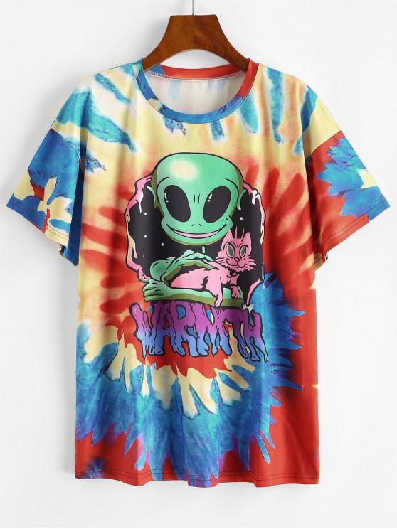 T-shirt de Manga Curta de Impressão de Universo em Laço - Azul XL