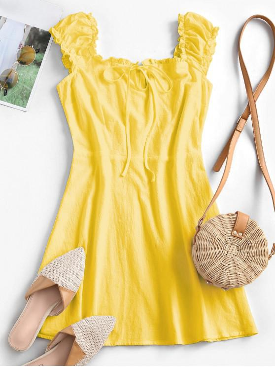 shop ZAFUL Frilled Tie A Line Short Dress - YELLOW M