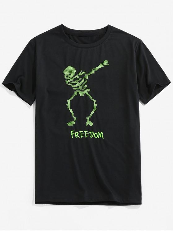 online ZAFUL Skeleton Print Short Sleeve Funny T-shirt - BLACK 2XL