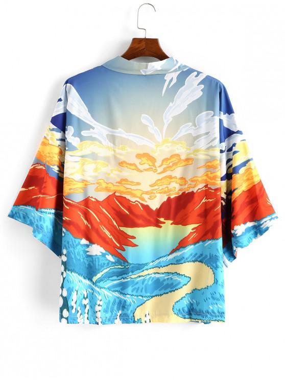 trendy Mountain Landscape Print Oriental Kimono Cardigan - MEDIUM TURQUOISE 2XL