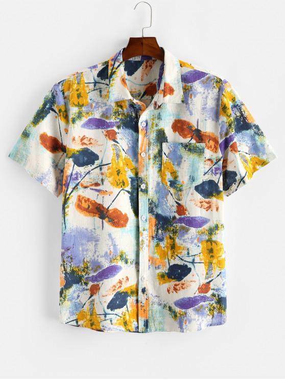 Blumen Tuschemalereidruck Tasche Patch Hemd - Multi 2XL