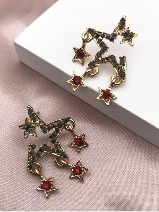 chic Rhinestone Stars Shape Stud Earrings - GOLDEN