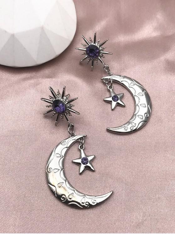 Pendientes de Gota de Forma de Estrella de Luna de Diamantes de Imitación - Plata