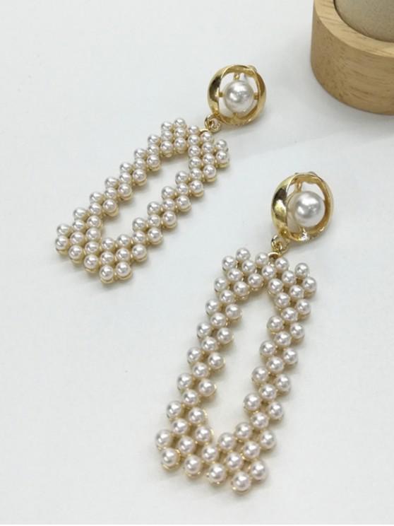 latest Faux Pearl Rectangle Drop Earrings - WHITE