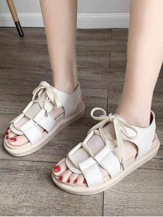 Pure Color Casual Lace Up Sandals - اللون البيج الاتحاد الأوروبي 39