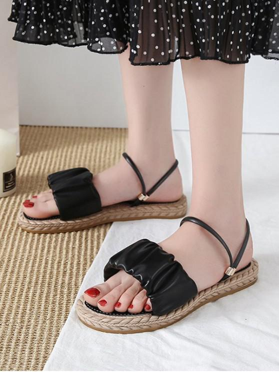 lady Ruched Leather Convertible Strap Flat Sandals - BLACK EU 39