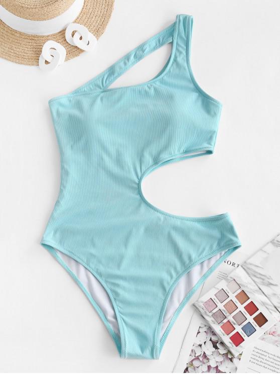 ZAFUL Unregelmäßige Schönheit Ausschnitt Gerippter Einteiliger Badebekleidung - Hellblau S