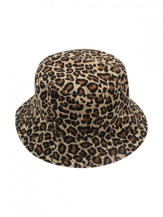 fashion Reversible Leopard Printed Bucket Hat - COFFEE