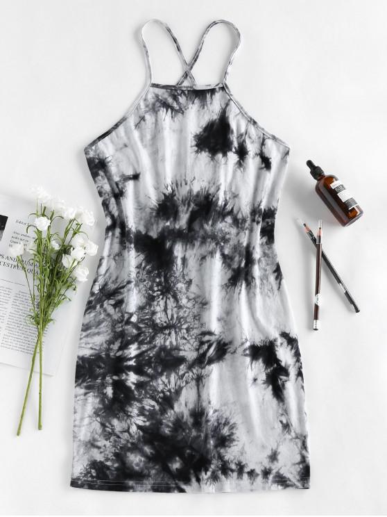 ZAFUL Lace Up Tie Dye Mini Tight Dress - أسود M