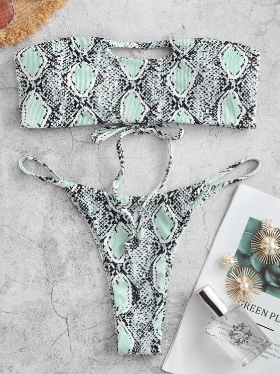 trendy ZAFUL Snake Print Ribbed Cutout Tanga Bandeau Bikini Swimwear - LIGHT GREEN M