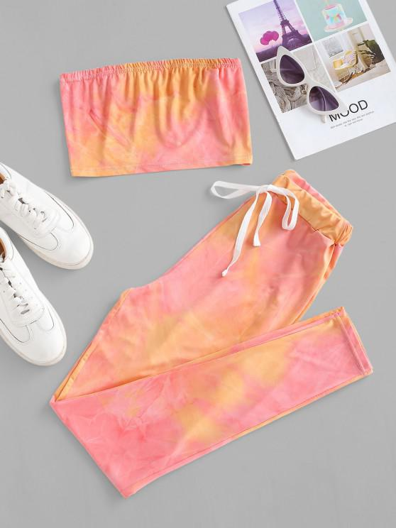 Tie Dye Bandeau Drawstring Two Piece Set - وردي فاتح L