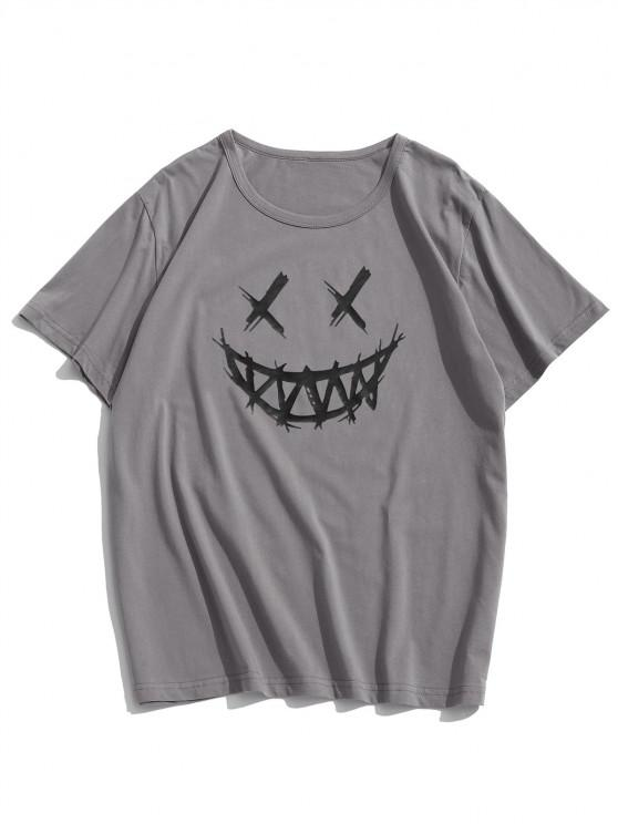new Happy Face Graphic Casual Short Sleeve T Shirt - DARK GRAY L