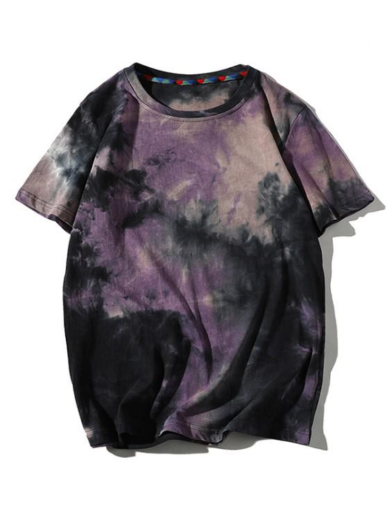 Tie Dye Printed Short Sleeves T-shirt - وردة بنفسجية XL