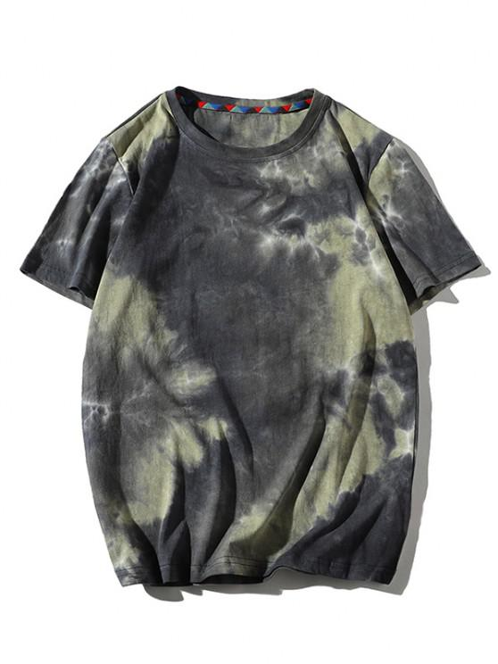 Tie Dye tipărite mâneci scurte T-shirt - Kaki S
