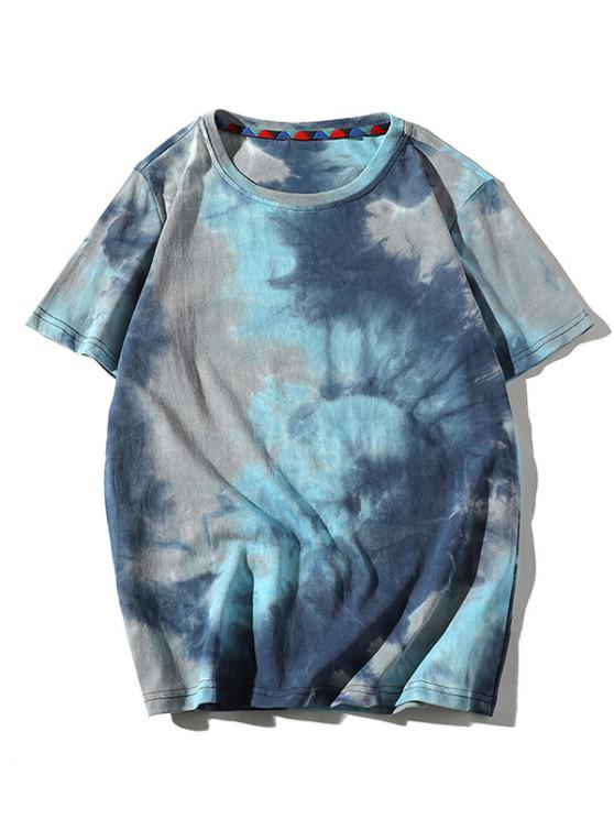 fashion Tie Dye Printed Short Sleeves T-shirt - BLUE ZIRCON S