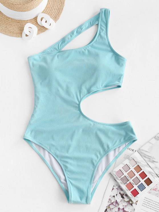 sale ZAFUL Irregular Beauty Cutout Ribbed One-piece Swimsuit - LIGHT BLUE M