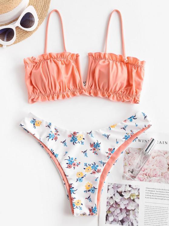 ZAFUL V-wired Side Boning Ditsy Print Ruched Bikini Swimwear - سلمون خفيف S