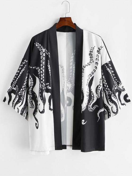 Urlaub Kimono mit Offener Vorderseite - Schwarz XL