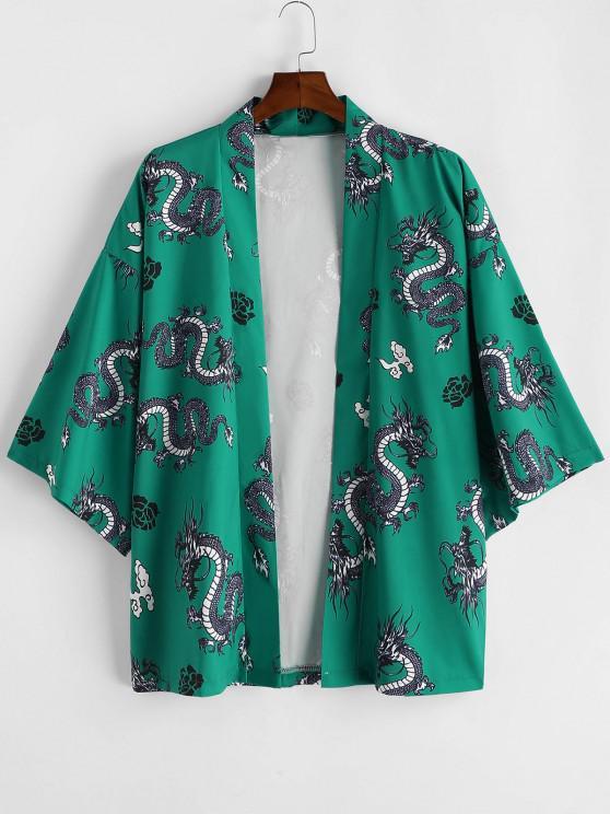 lady Dragon Flower Print Open Front Kimono Cardigan - CLOVER GREEN M