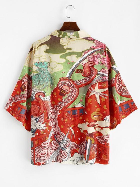 chic Open Front Octopus Fish Print Oriental Kimono Cardigan - LAVA RED 2XL