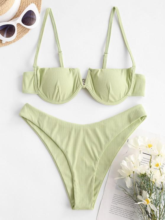 hot ZAFUL Subtle Taste Ribbed Balconette Bikini Swimwear - LIGHT GREEN S