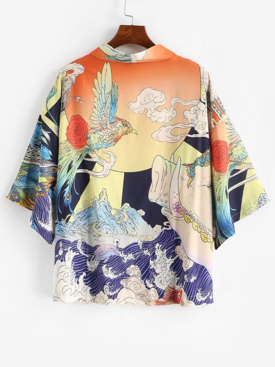 hot Animal Ocean Waves Graphic Oriental Kimono Cardigan - GOLDENROD XL