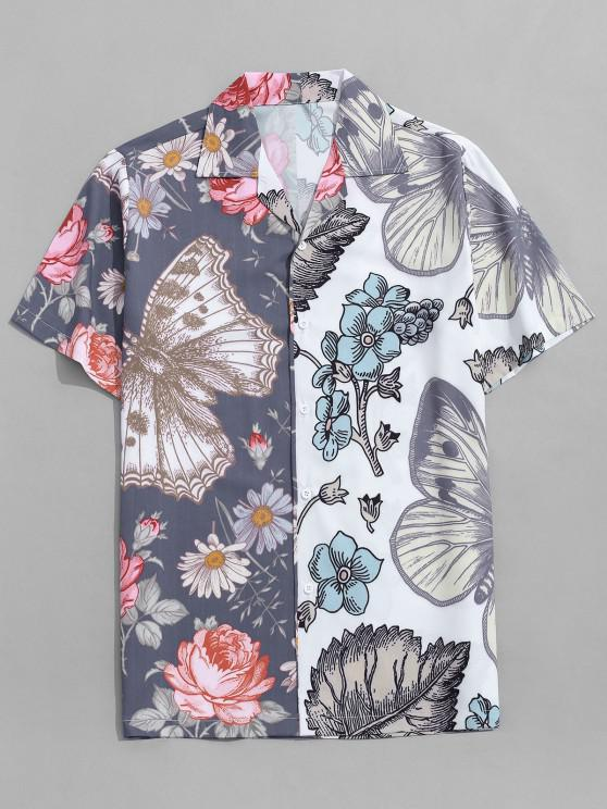 fashion Butterfly and Flower Print Vacation Shirt - MARBLE BLUE L