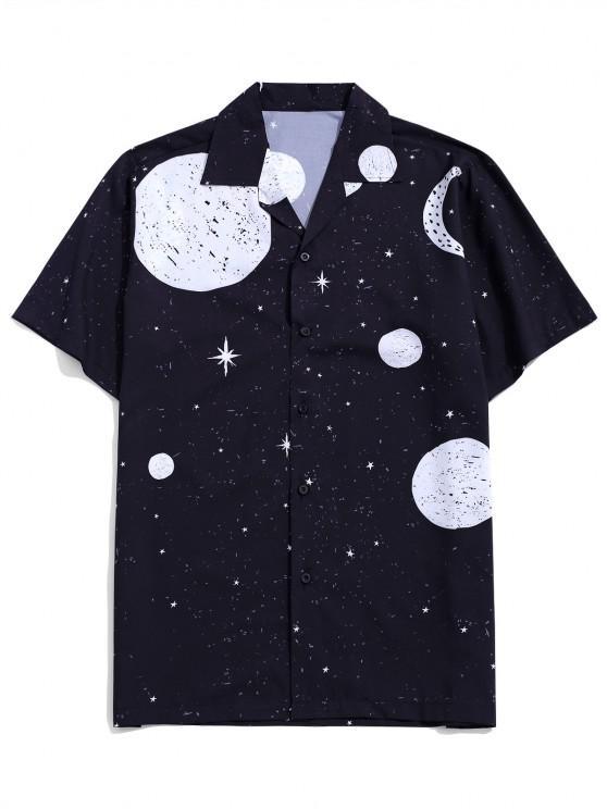 chic Sun Moon And Star Pattern Shirt - BLACK XL
