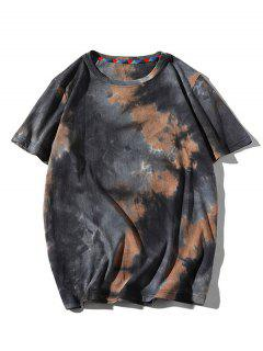Tie Dye Printed Short Sleeves T-shirt - Brown Sugar L